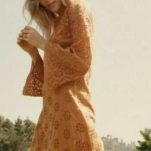 2959 Doen Marigold Tan Francoise Eyelet Dress S